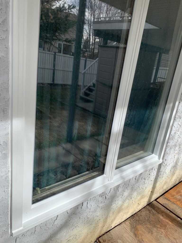 Newly installed window cladding in calgary
